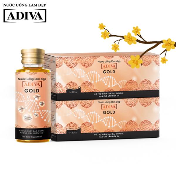 COMBO 02 Hộp Nước uống làm đẹp Gold Adiva Collagen (14 lọ x hộp) - Hỗ trợ ngăn ngừa lão hóa da