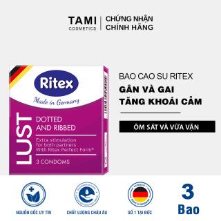 [Hộp 3 chiếc] Bao cao su RITEX LUST gân và gai tăng kích thích cho cả hai Bao cao su hàng đầu tại Đức (Có che tên) TM-RI-LUST3 thumbnail