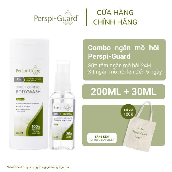Combo ngăn mồ hôi sữa tắm + xịt khử mùi Perspi-Guard Sweat Defence System 200ml + 30ml