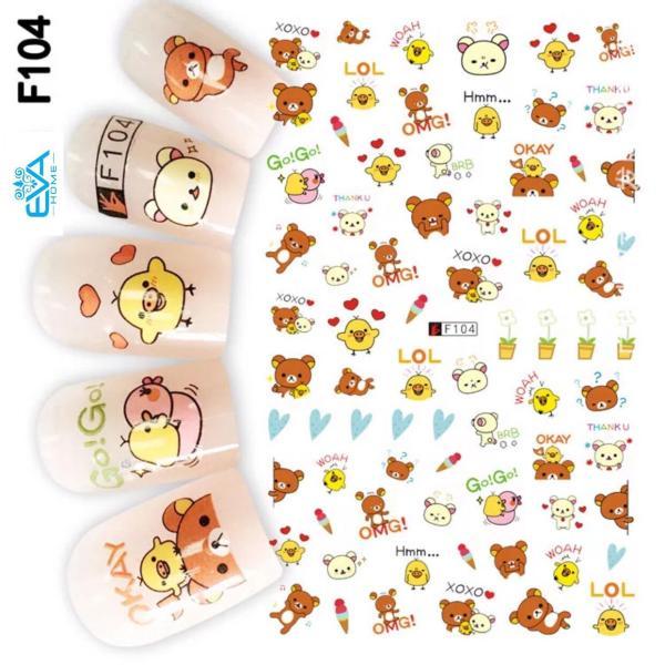 Miếng Dán Móng Tay 3D Nail Sticker Hoạt Hình F104 giá rẻ