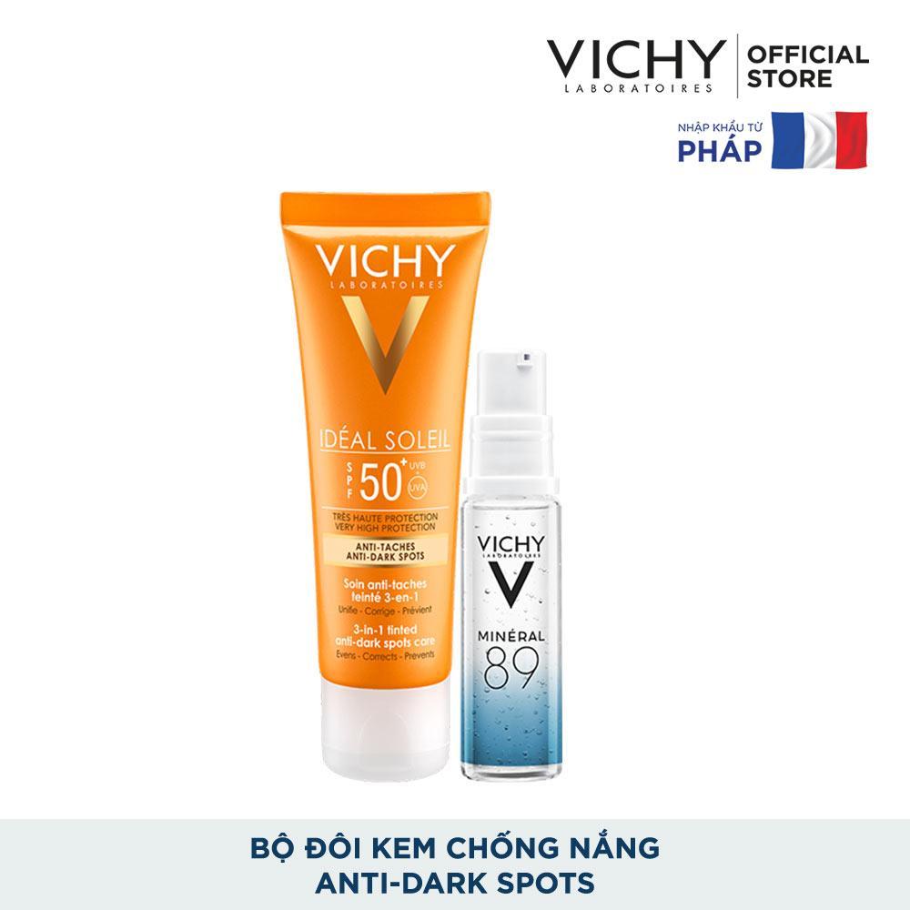 Bộ kem chống nắng có màu ngăn sạm da, giảm thâm nám Vichy Ideal Soleil Anti-Darkspot SPF50 50ml và Dưỡng chất Mineral 89 10ml tốt nhất