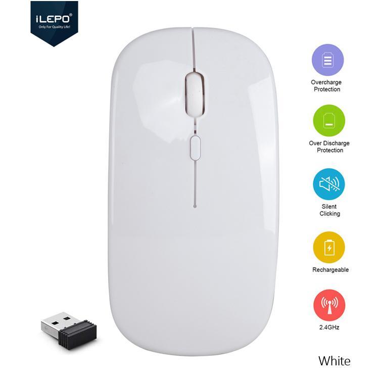 Chuột Không Dây Sạc Pin 2.4G Kiểu Dáng Apple, 1200 DPI , Thiết Kế nhỏ Gọn , Phù Hợp Dân Văn Phòng , Không Tiếng Ồn , Không Ảnh Hưởng Người Khác. Bảo Hành 12 tháng, Wireless Mouse ILEPO M5