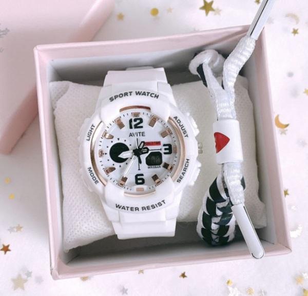 Đồng hồ điện tử nữ AVITE chạy kim và điện tử Size 43mm siêu đẹp bán chạy