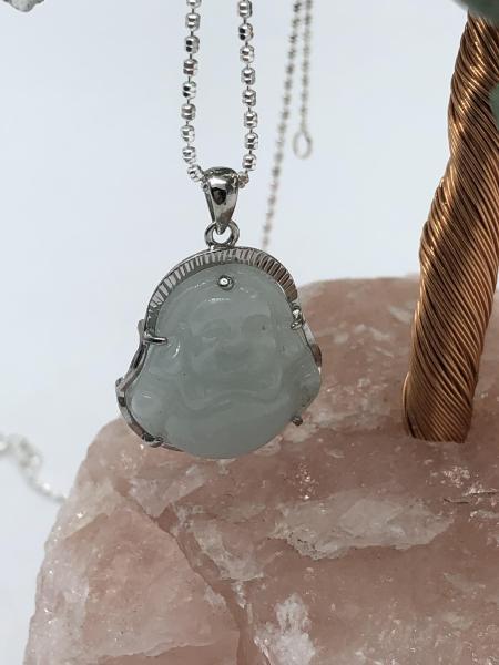 Mặt dây chuyền đá ngọc Phật di lặc – bọc bạc 925 – dài 2,5cm – rộng 0,3cm– cao 2cm - Màu xanh – bảo hành si mới bạc trọn đời