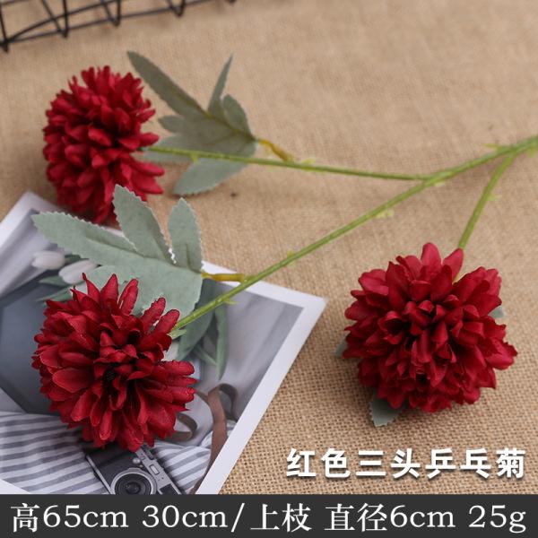 Hoa Cúc Pansy Giả Cành 3 Bông To (Ping Pong)