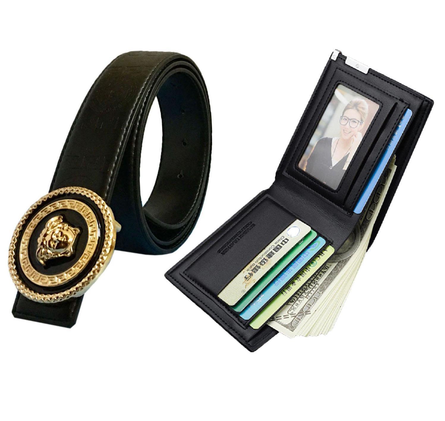 Combo dây thắt lưng nam, dây nịt nam mặt tròn VS668 hợp kim mạ vàng cực sang và ví bóp nam da cao cấp lịch lãm ( Dây đen )