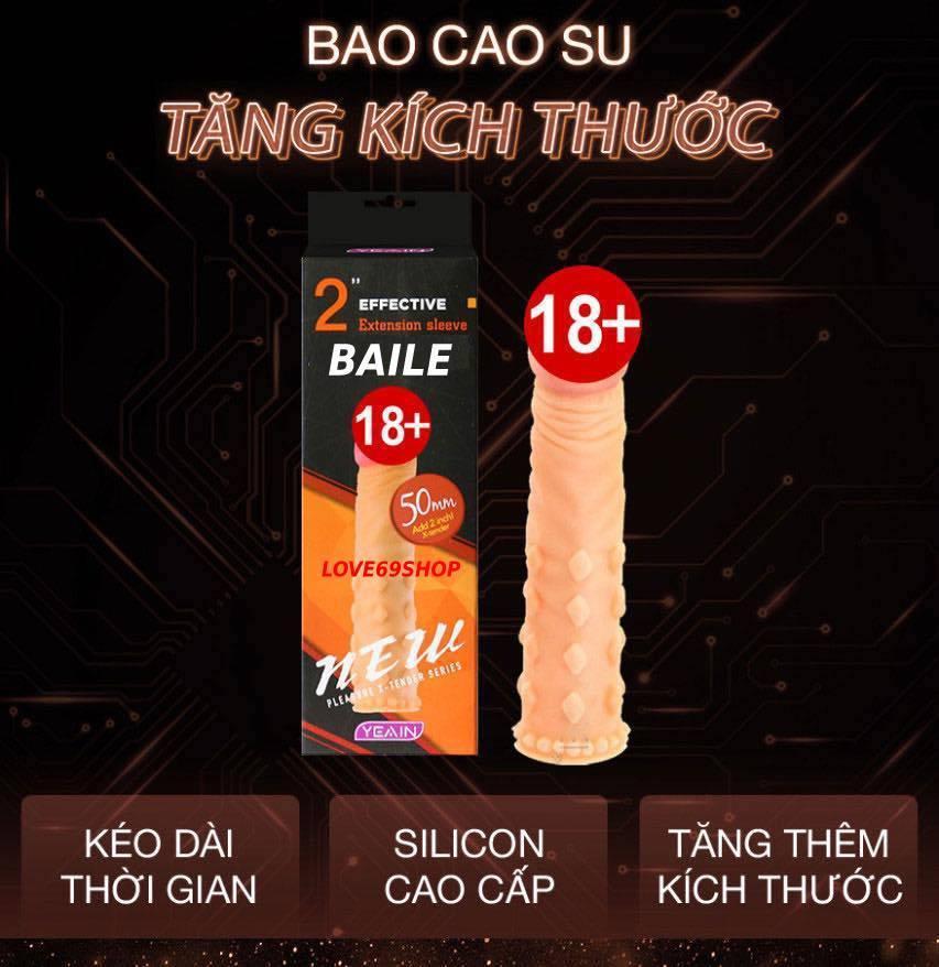 Bao cao su đôn dên Gân Gai tăng kích thước Baile cao cấp Silicon siêu mềm - Dùng nhiều lần_1 nhập khẩu