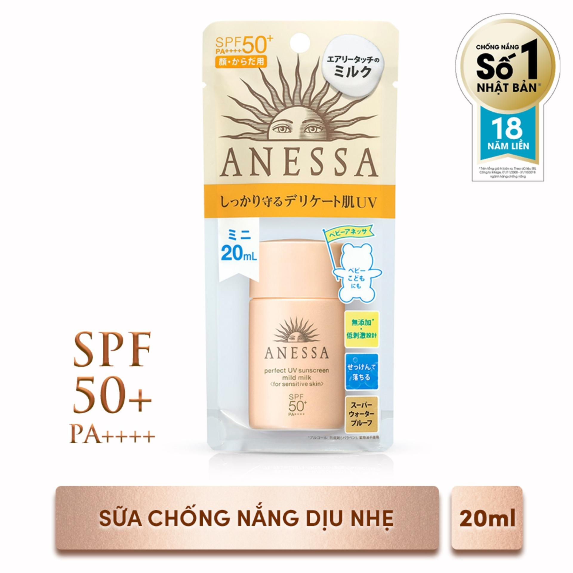 Sữa chống nắng dịu nhẹ cho da nhạy cảm Anessa Perfect UV Sunscreen Mild Milk - SPF50+, PA++++ - 20ml Nhật Bản