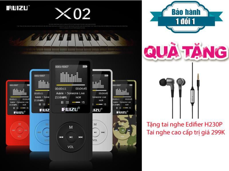 Máy Nghe Nhạc HiFi Mp3 Ruizu X02 + Tặng tai nghe kiểm âm chất lượng cao Edifier H230P