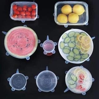 Bộ 6 nắp đậy silicon bọc thực phẩm, hộp thức ăn, chai nhựa [ nắp đậy lò vi sóng, tủ lạnh bằng silicone ] thumbnail