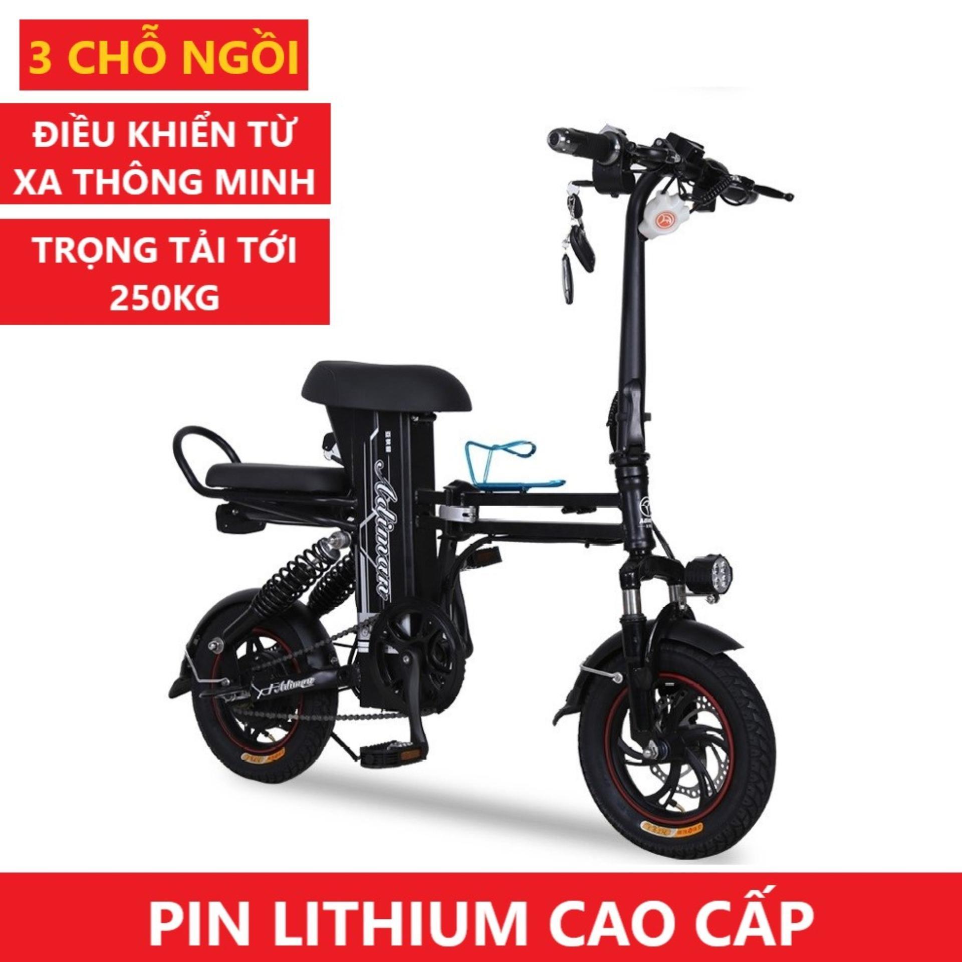 Xe Điện Gấp Gọn ADIMAN | Xe Đạp Điện | 3 Ghế Ngồi | Pin Lithium 48v-8A