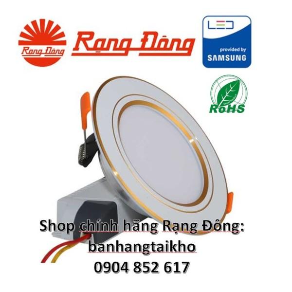 Đèn Led Âm Trần Đổi Màu 9W Viền Vàng, Khoét Lỗ 110Mm, Samsung Chipled Đổi 3 Màu