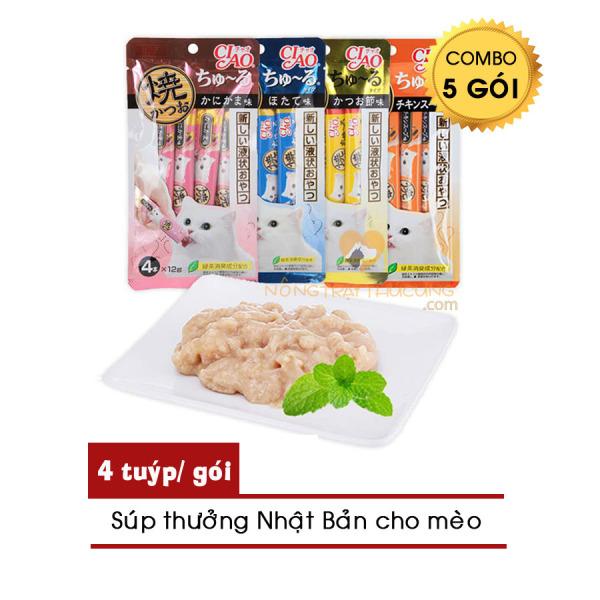 [Combo 5 gói] Pate - Súp thưởng CIAO Churu Cho Mèo - 4 thanh/gói - [Nông Trại Thú Cưng]