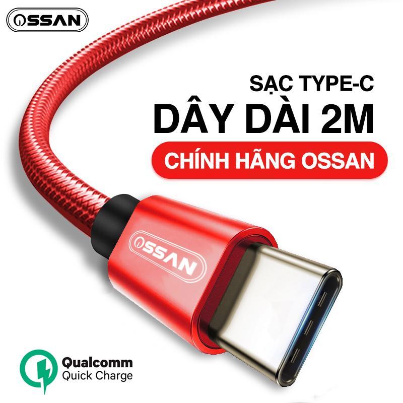 Dây sạc USB Type C dài 2m hỗ trợ sạc nhanh Qualcomm Quick Charge cho Samsung Galaxy Note 8  S8  S8 Plus 9  9 Plus s10 s10plus note 10 và các máy có cổng Type-C - Hàng Ossan