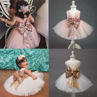 Đầm Xòe Công Chúa Bé Gái, Đính Nơ Đính Kim Sa, Váy Xòe Dự Tiệc, Đám Cưới