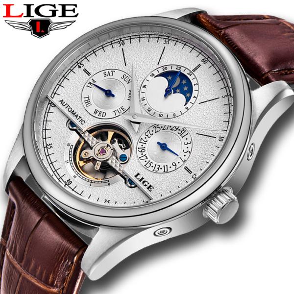 LIGE Đồng hồ nam cơ khi tự động Tourbillon đồng hồ thể thao nhiều kim hiển thị thứ ngày chu kì mặt trăng chống nước - INTL bán chạy