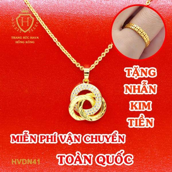 Vòng Cổ, Dây Chuyền Nữ Mặt Xoắn Phong Cách Trẻ Trung, Titan Xi Mạ Vàng Non 10k, 18k, 24k Thật Cao Cấp (Không Bị Đen) - Trang Sức Hava Hong Kong