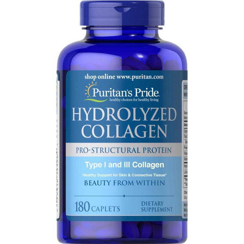 Sales sốc tới 85%!!! Viên uống đẹp da, ngừa nám Collagen thủy phân Puritans Pride Hydrolyzed Collagen 1000mg 180 viên HSD 30/3/2020 cao cấp