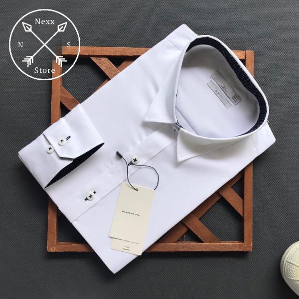Áo sơ mi nam , áo sơ mi công sở nam tay dài màu trắng chất liệu cotton cao cấp NS01