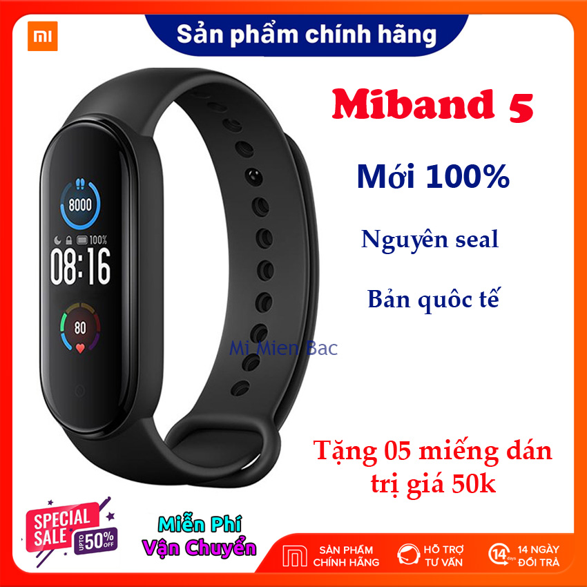 [Siêu Sales 4.4] Đồng Hồ Xiaomi Miband 5, Vòng đeo tay sức khỏe thông minh, bản nâng cấp của Miband 4 - Nguyên seal, mới 100% - Chống nước 5ATM, Theo dõi sức khỏe, Kết nối Bluetooth, Hỗ trợ tiếng Việt - Hàng chính hãng - BH 12 tháng