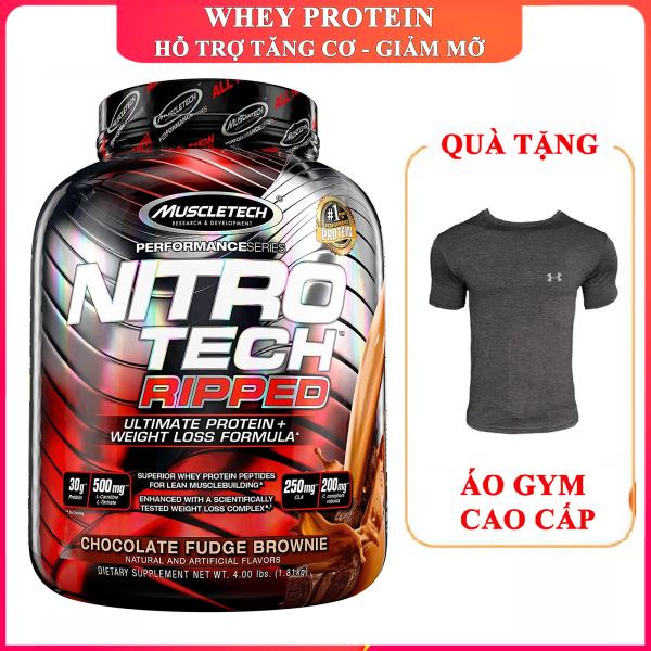 [TẶNG ÁO GYM] Sữa tăng cơ Whey Protein Nitro Tech Ripped của Muscle Tech hộp 42 lần dùng hương Chocolate hỗ trợ tăng cơ giảm cân, giảm mỡ bụng mạnh mẽ, tăng sức bền sức mạnh, phục hồi cơ nhanh chóng cho người chơi thể thao - thuc pham chung nan