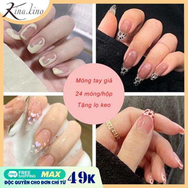 Móng tay gia giá rẻ -nail giả cao cấp mẫu mới về hộp 24 móng- Kinakino phukienlamdep giá rẻ