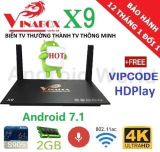 Hộp Android Tivi Box VINABOX X9 (Voice Search, Android 7.1) - Phân phối bởi Android World thumbnail