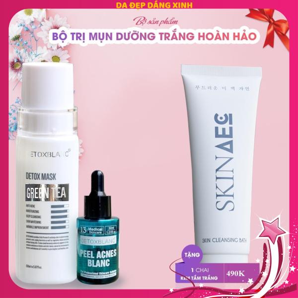 Bộ đôi xóa mụn thâm Detox BlanC tặng sữa tắm trắng hàng ngày skin aec 300ml tốt nhất