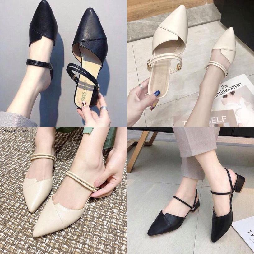 Sandal cao gót nữ 3p mũi nhọn 2 quai ngang siêu đẹp giá rẻ