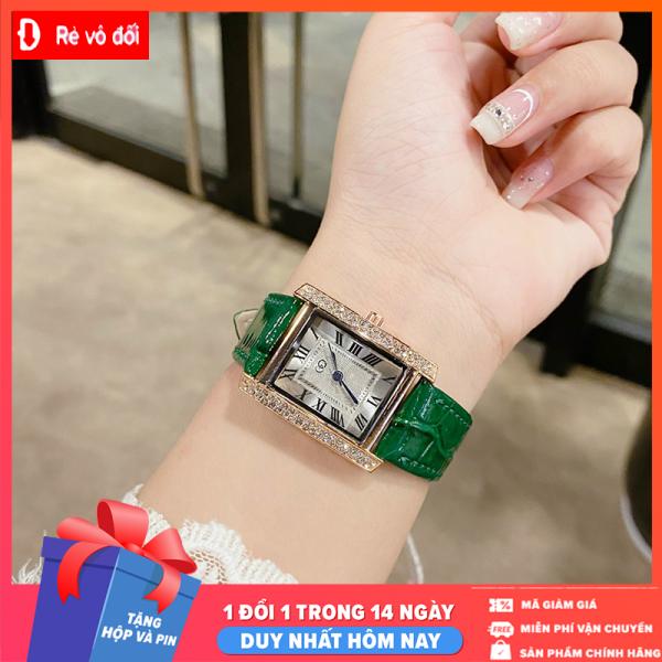 Đồng hồ nữ thời trang GC dây da mặt vuông viền đính đá sang trọng quí phái - Tặng kèm hộp và Pin - Sams Shop bán chạy