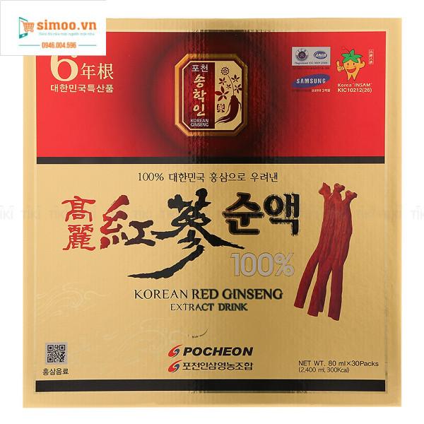 Nước Hồng Sâm Nguyên Chất 100% Pocheon Hàn Quốc (80ml X 30 Gói) giá rẻ