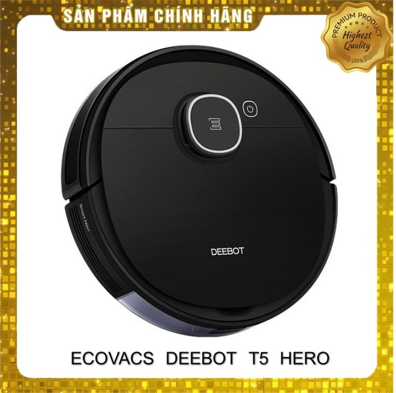 Robot hút bụi lau nhà thông minh Ecovacs Deebot T5 Hero-Hàng mới nguyên seal 100%- Tặng App Ecovacs Home- Dung lượng pin 5200mah diện tích làm sạch lên đến 300m2