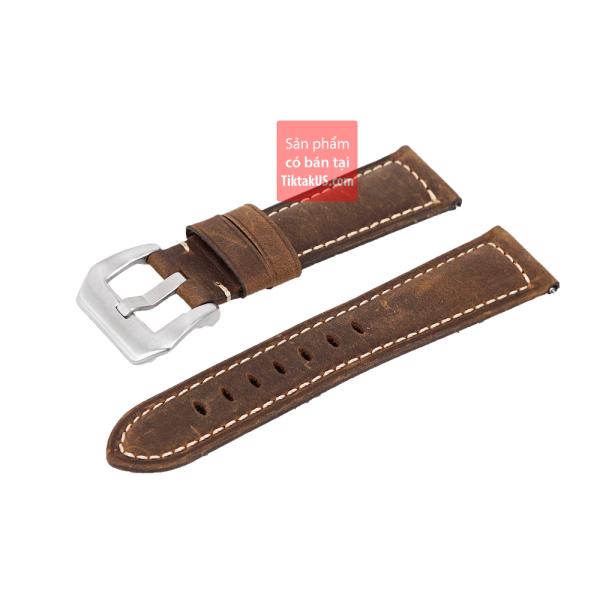 Dây đồng hồ da bò thật- da sáp chốt thông minh Quick Release - size 22mm bán chạy