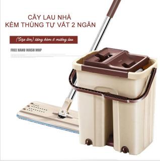 Cây Lau Nhà Tự Vắt, Cây Lau Nhà Thông Minh Spin Mop. Chổi lau nhà tự vắt cao cấp kèm thùng - Tặng kèm móc treo chổi Nhập Khẩu Hàn Quốc. thumbnail