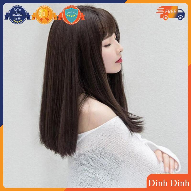 [TẶNG KÈM LƯỚI] Tóc giả nữ sợi tơ Hàn Quốc CÓ DA ĐẦU - TG34 ( NÂU SOCOLA Y HÌNH ) nhập khẩu