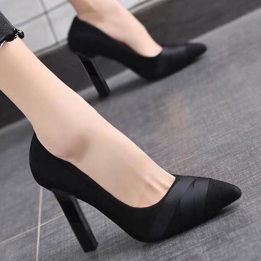 [SenXanh] Giày cao gót trụ nhỏ họa tiết dây chéo - 8P giá rẻ
