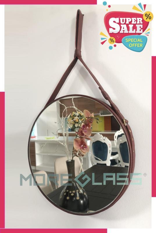 Gương tròn treo tường dây da nâu đỏ D80 - Gương trang trí spa - Gương treo tường salon [Ảnh thật]
