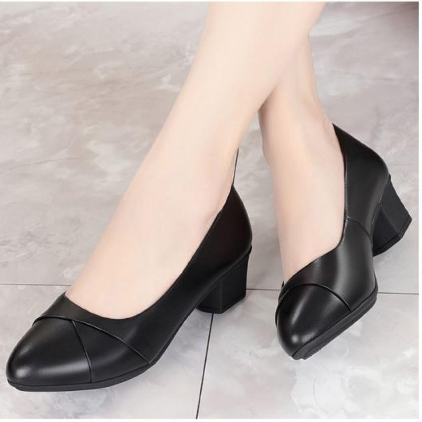 Hàng VNXK M9 Giày cao gót nữ da lì 4cm siêu mềm êm chân xếp li xinh xắn kèm hình thật giá rẻ