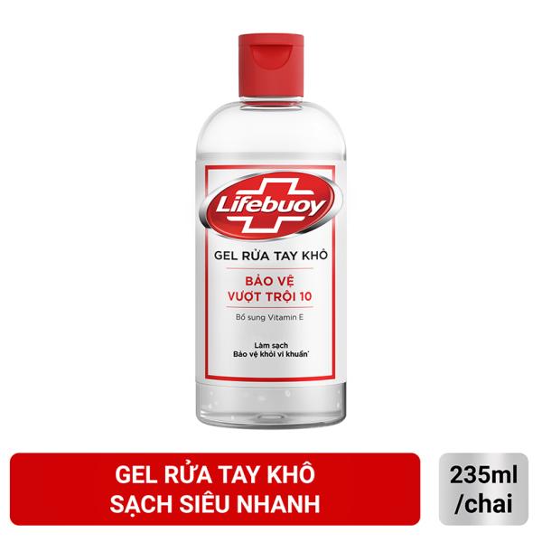 Gel rửa tay khô sạch siêu nhanh Lifebuoy Bảo Vệ Vượt Trội 10 (Chai nắp 235ml)