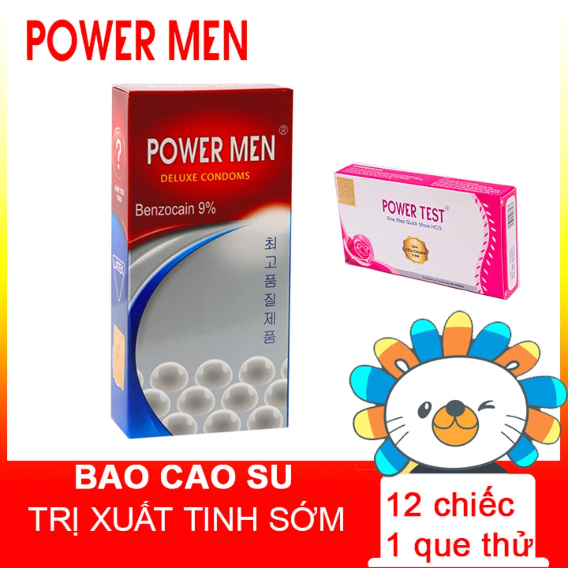 [Mua 1 Tặng 1] Que thử thai Powertest tặng Bao cao su Powermen 12 chiếc BCS nhập khẩu