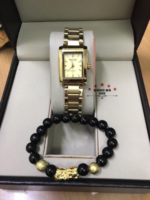 Đồng hồ nữ HALEI dây kim loại thời thượng ( HL465 Dây vàng mặt vàng ) - Kính Chống Xước, Chống Nước Tuyệt Đối, Mạ PVD Cao Cấp Chống Gỉ Chống Phai Màu Thời Trang Hottrend 2020