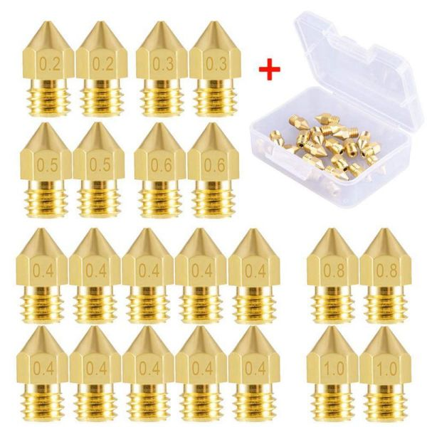 Bảng giá 22 Pieces 3D Printer Nozzles MK8 Nozzle 0.2mm, 0.3mm, 0.4mm, 0.5mm, 0.6mm, 0.8mm, 1.0mm Extruder Print Head with Free Storage Box for 3D Printer Makerbot Creality CR-10 Phong Vũ
