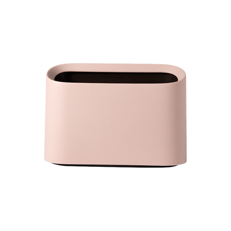 Nordic Style Desktop Trash Can Modern Oval Shatter-Resistant Plastic Small Trash Can Wastebasket Desktop Trash Can Mini Trash Can