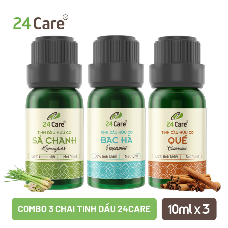 Combo 3 chai Tinh dầu 24CARE 10ML/chai - Hương Sả chanh, Bạc hà, Quế nhập khẩu