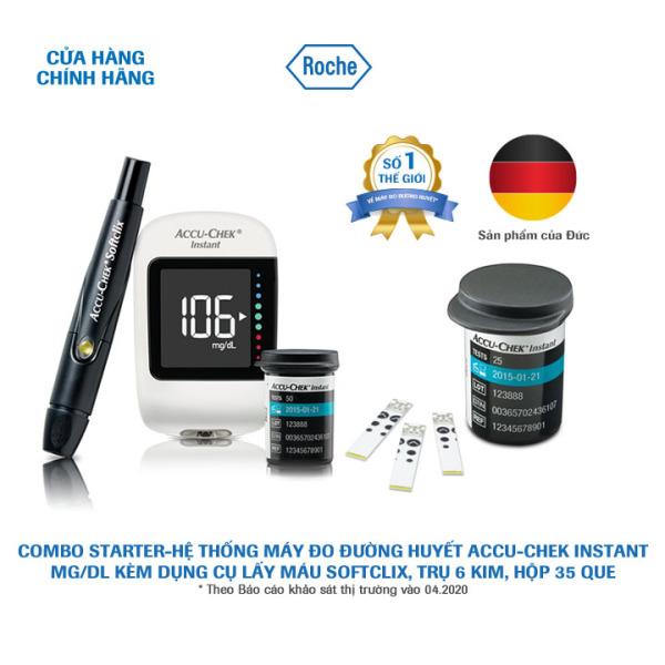 Nơi bán COMBO STARTER-Hệ thống máy đo đường huyết Accu-Chek Instant mg/dL. Kèm Dụng cụ lấy máu Softclix, 10 kim, hộp 35 que