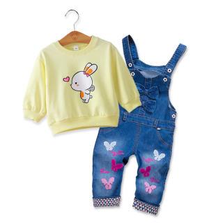 DIIMUU 2 cái Bộ Quần áo Trẻ Em Quần Áo Trẻ Em Quần Áo Trẻ Em Thường Hoạt Hình Tops + Bộ Quần Áo Denim Cô Gái Trang Phục