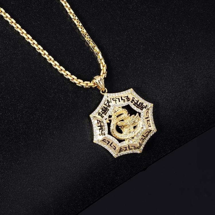 Dây Chuyền Phong Thủy Chạm Rồng Hình Lục Giác ( DCCRK110 ) - Phù Hợp Tất Cả Các Mệnh - Không Đen - Không Gỉ Sét - Kim Tiền Jewelry