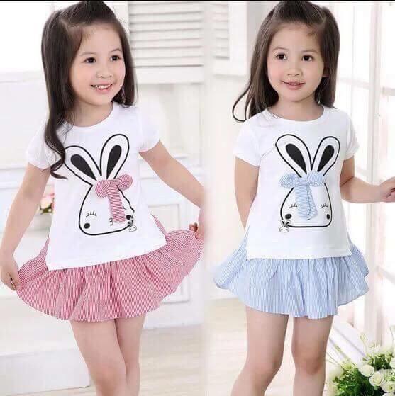 Váy nơ thỏ ngắn tay cho bé gái siêu xinh - BGMH37