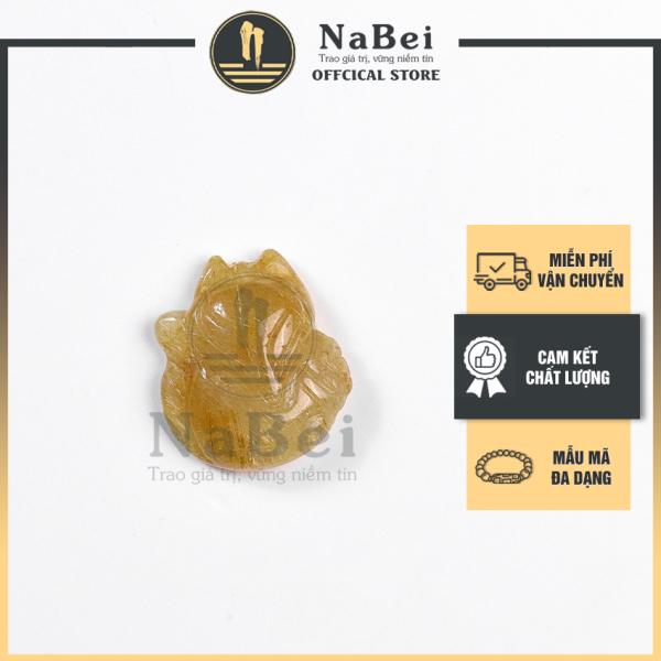 Mặt Hồ Ly Phong Thủy Tự Nhiên Đá Thạch Anh Tóc Vàng Làm Vòng Cổ và Nhẫn Cho Nữ NB11 - Phong Thuỷ NaBei Store