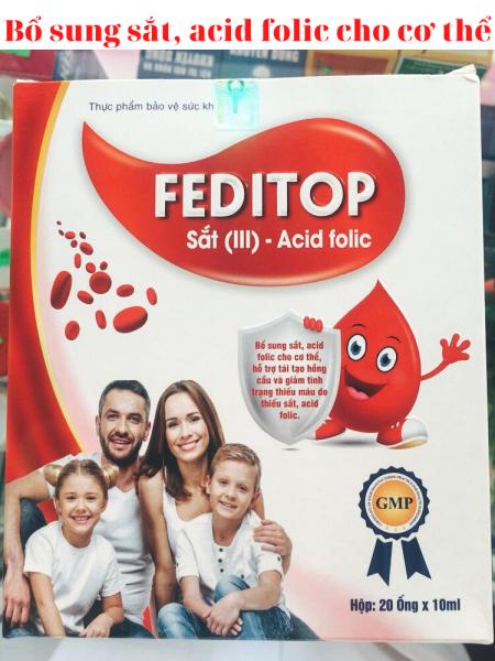 Thực phẩm chức năng FEDITOP - Thực phẩm bổ sung sắt, acid folic
